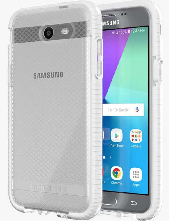 Tech21 White Clear EVO Check Case TPU Cover for Samsung Galaxy J3 Prime (2017)