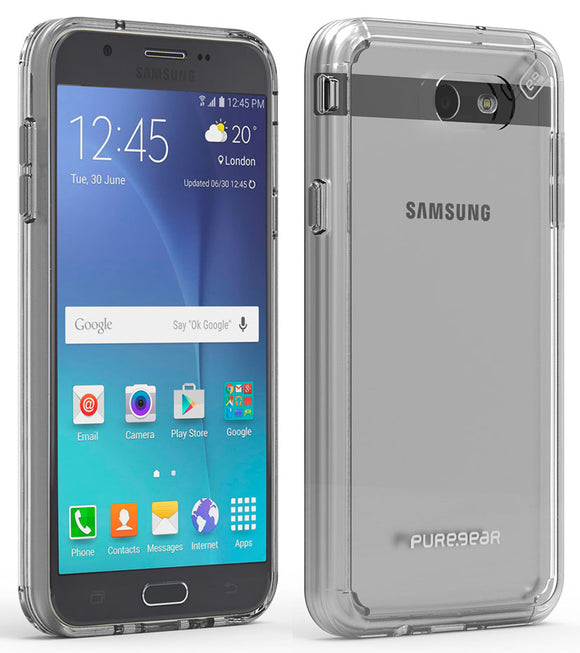 PureGear Clear Slim Shell Pro Case Cover for Galaxy Express Prime-2, J3 Luna Pro