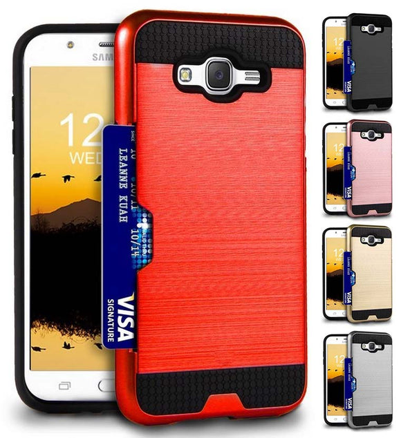 Credit Card Slot Hard Case Cover for Samsung Galaxy J7 (2015, SM-J700)
