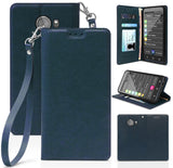 Leather Wallet Case Cover Stand + Wrist Strap for GreatCall Jitterbug Smart2