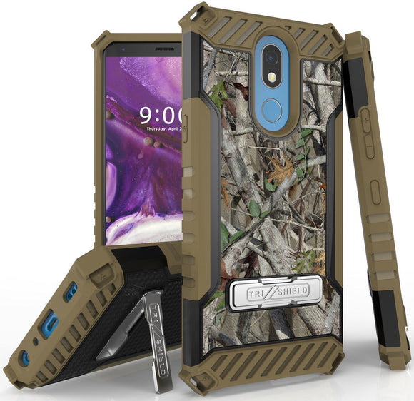 Outdoor Camo Tree Real Woods Case Cover Stand Strap for LG K40, Solo, K12 Plus