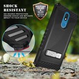 Tri-Shield Rugged Case Cover with Kickstand and Strap for LG Xpression Plus 2
