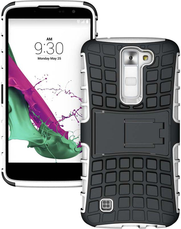 WHITE GRENADE GRIP TPU SKIN HARD CASE COVER STAND FOR LG TRIBUTE-5, TREASURE, K7
