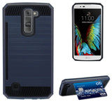 NAVY RUGGED TPU RUBBER HARD SHELL CASE STAND COVER FOR LG K7 and LG TRIBUTE 5