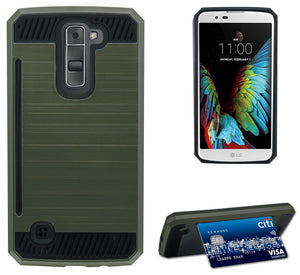 OD GREEN RUGGED TPU RUBBER HARD SHELL CASE STAND COVER FOR LG K7 & LG TRIBUTE 5