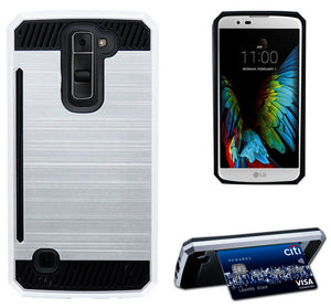 SILVER RUGGED TPU RUBBER HARD SHELL CASE STAND COVER FOR LG K7 and LG TRIBUTE 5