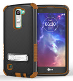 BROWN RUGGED TRI-SHIELD RUBBER SKIN HARD CASE COVER STAND FOR LG TRIBUTE 5 K7