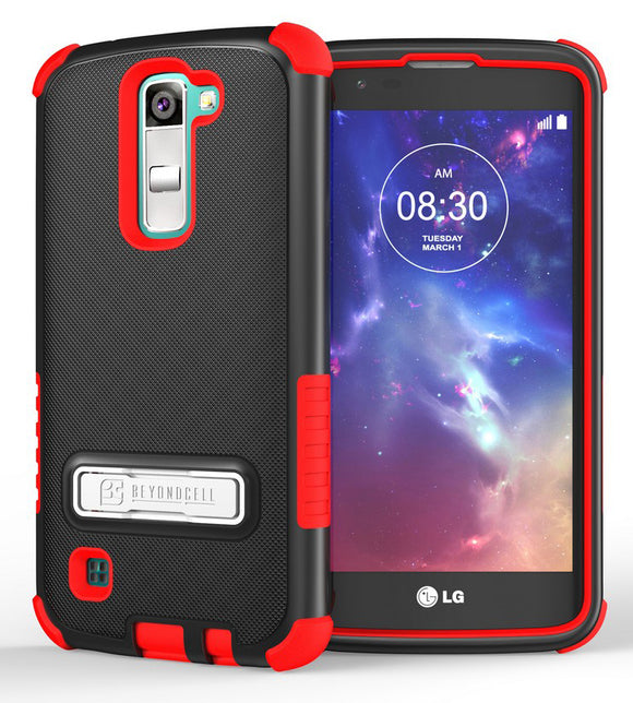 RED RUGGED TRI-SHIELD SOFT RUBBER SKIN HARD CASE COVER STAND FOR LG TRIBUTE 5 K7
