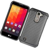 BLACK CARBON FIBER RUGGED CASE COVER FOR LG TRIBUTE 5, TREASURE, K7, ESCAPE 3