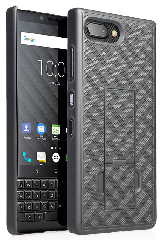 Black Slim Kickstand Case Hard Cover Stand for BlackBerry Key2, Key 2