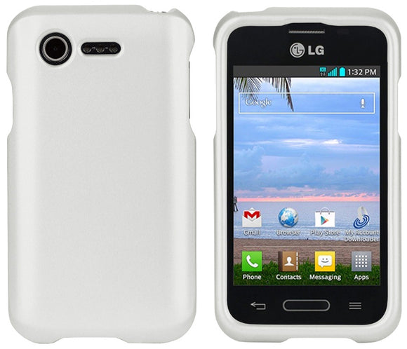 WHITE RUBBERIZED PROTEX HARD CASE COVER LG OPTIMUS ZONE-2 VS415 & FUEL L34C