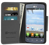 BLACK INFOLIO WALLET CREDIT CARD CASH CASE STAND FOR LG OPTIMUS DYNAMIC-2 L39C