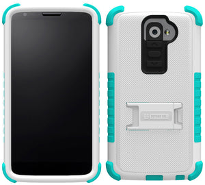 TURQUOISE WHITE TRI-SHIELD SOFT SKIN HARD CASE STAND SCREEN PROTECTOR FOR LG G2