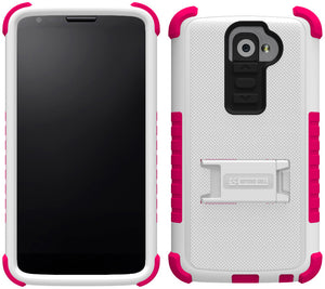 PINK WHITE TRI-SHIELD SOFT SKIN HARD CASE STAND SCREEN PROTECTOR FOR LG G2 PHONE