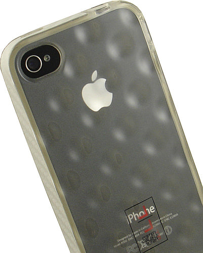 LIMITED LUXURY CLEAR DIMPLED TPU SKIN CASE WHITE LANYARD FOR APPLE iPHONE 4S 4