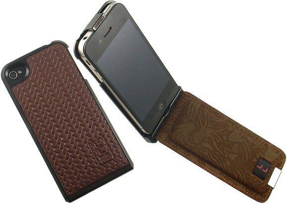 NEW LIMITED LUXURY BROWN LEATHER FLIP CASE HARD SHELL FOR APPLE iPHONE 4S 4