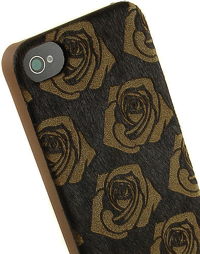 NEW LIMITED LUXURY BROWN HORSE HAIR ROSE DESIGN HARD CASE COVER FOR iPHONE 4S 4