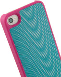LIMITED LUXURY PINK TURQUOISE RUBBERIZED HARD CASE COVER FOR APPLE iPHONE 4S 4