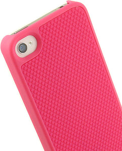 NEW LIMITED LUXURY PINK RUBBER TREAD HARD CASE COVER FOR APPLE iPHONE 4S 4 4G