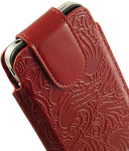 NEW LIMITED LUXURY RED LEATHER SLEEVE POUCH CASE COVER FOR APPLE iPHONE 4S 4 4G