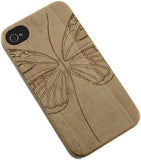 NEW LIMITED LUXURY NATURAL WOOD CASE WITH CARVED BUTTERFLY FOR APPLE iPHONE 4S 4