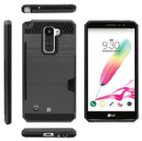 BLACK CREDIT CARD SLOT HARD CASE COVER STAND FOR LG STYLO-2 4G LS775 STYLUS-2