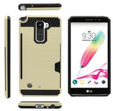 GOLD CREDIT CARD SLOT HARD CASE COVER STAND FOR LG STYLO-2 4G LS775 STYLUS-2