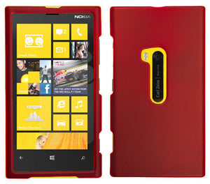 RED RUBBERIZED HARD SHELL CASE COVER FOR NOKIA LUMIA 920