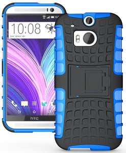 BLUE GRENADE GRIP RUGGED TPU SKIN HARD CASE COVER STAND FOR HTC ONE M8 (2014)
