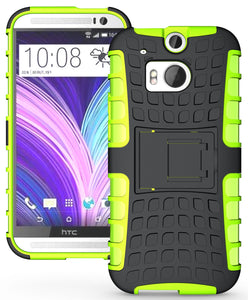 NEON LIME GREEN GRENADE TPU SKIN HARD CASE COVER STAND FOR HTC ONE M8 (2014)
