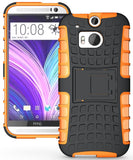 NEON ORANGE GRENADE RUGGED TPU SKIN HARD CASE COVER STAND FOR HTC ONE M8 (2014)