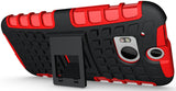 RED GRENADE GRIP RUGGED TPU SKIN HARD CASE COVER STAND FOR HTC ONE M8 (2014)