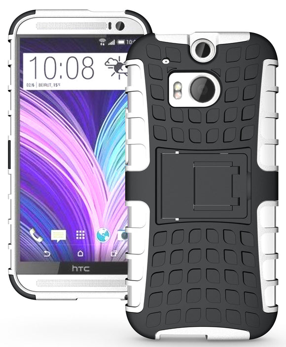 WHITE GRENADE GRIP RUGGED TPU SKIN HARD CASE COVER STAND FOR HTC ONE M8 (2014)