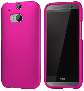 ROSE PINK RUBBERIZED HARD CASE PROTEX COVER FOR HTC ONE M8 PHONE (2014)