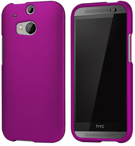 DEEP PURPLE RUBBERIZED HARD CASE PROTEX COVER FOR HTC ONE M8 PHONE (2014)