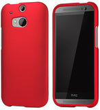 DEEP RED RUBBERIZED HARD CASE PROTEX COVER FOR HTC ONE M8 PHONE (2014)