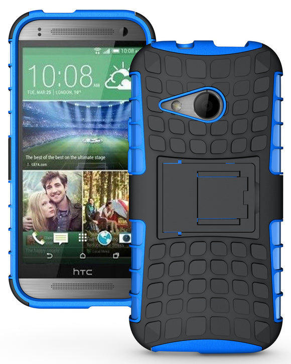 BLUE GRENADE RUGGED TPU SKIN HARD CASE COVER STAND FOR HTC ONE REMIX ONE MINI-2