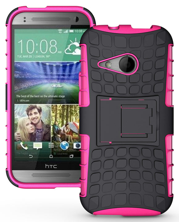 PINK GRENADE RUGGED TPU SKIN HARD CASE COVER STAND FOR HTC ONE REMIX ONE MINI-2