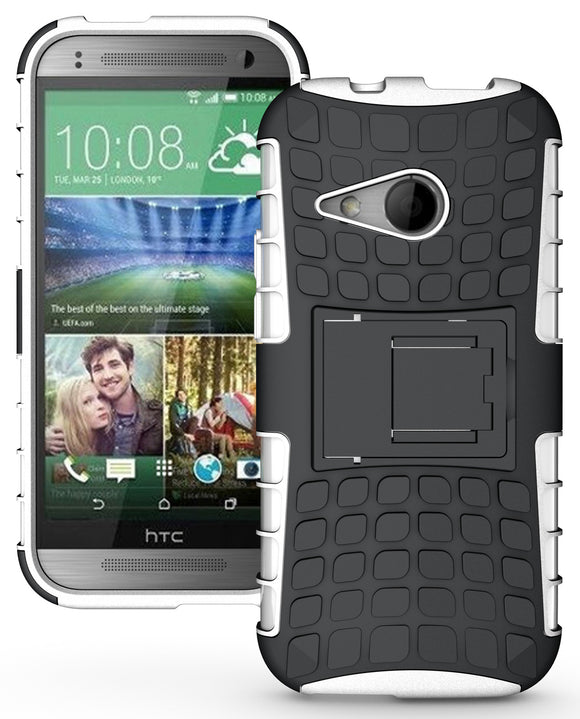 WHITE GRENADE RUGGED TPU SKIN HARD CASE COVER STAND FOR HTC ONE REMIX ONE MINI-2