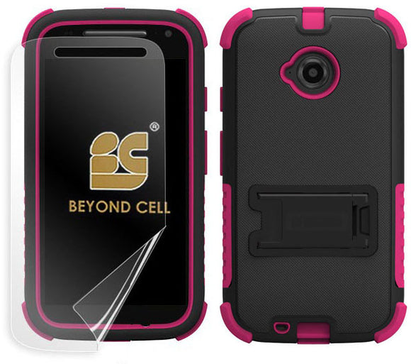 PINK RUGGED TRI-SHIELD HARD CASE COVER STAND FOR MOTOROLA MOTO E 2nd GEN 2015