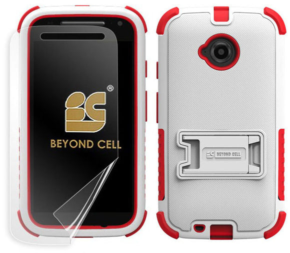 WHITE RED TRI-SHIELD SKIN HARD CASE COVER STAND FOR MOTOROLA MOTO E 2nd GEN 2015