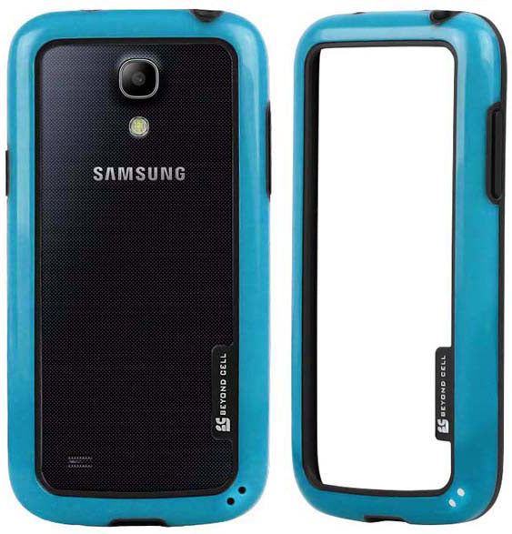 BLUE AQUAFLEX LITE TPU BUMPER FRAME CASE FLEX COVER FOR SAMSUNG GALAXY S4 MINI