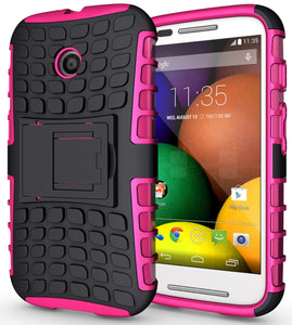 PINK GRENADE GRIP RUGGED TPU SKIN HARD CASE COVER STAND FOR MOTOROLA MOTO-E