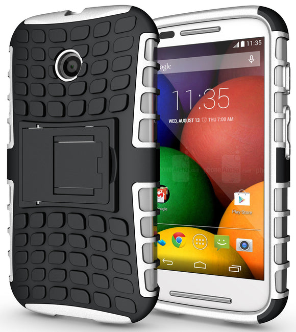 WHITE GRENADE GRIP RUGGED TPU SKIN HARD CASE COVER STAND FOR MOTOROLA MOTO-E