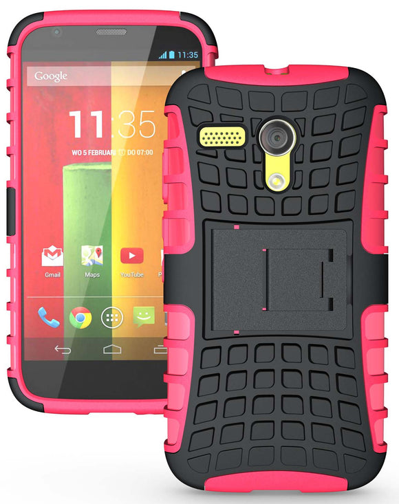 PINK GRENADE RUGGED TPU SKIN HARD CASE COVER STAND FOR MOTOROLA MOTO-G PHONE