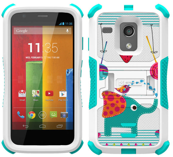 CANDY ELEPHANT TRI-SHIELD DESIGN SKIN HARD CASE COVER STAND FOR MOTOROLA MOTO-G