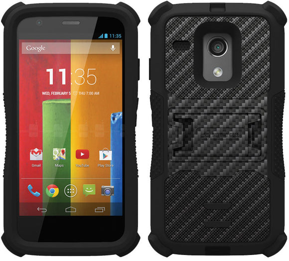 BLACK CARBON FIBER TRI-SHIELD DESIGN SKIN CASE COVER STAND FOR MOTOROLA MOTO-G