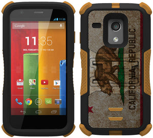 CALIFORNIA REPUBLIC BEAR FLAG TRI-SHIELD DESIGN CASE STAND FOR MOTOROLA MOTO-G