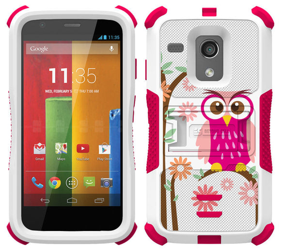 PINK OWL DAISY TRI-SHIELD DESIGN SKIN HARD CASE COVER STAND FOR MOTOROLA MOTO-G