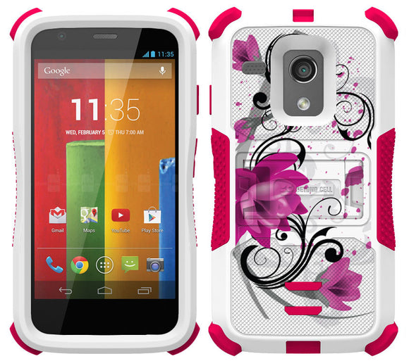 PINK LOTUS FLOWER TRI-SHIELD DESIGN SKIN CASE COVER STAND FOR MOTOROLA MOTO-G